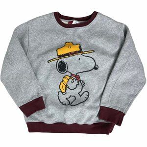PEANUTS/Zara Snoopy Long Sleeve Gray Pullover Crewneck Sweater Youth Size 9 -GUC